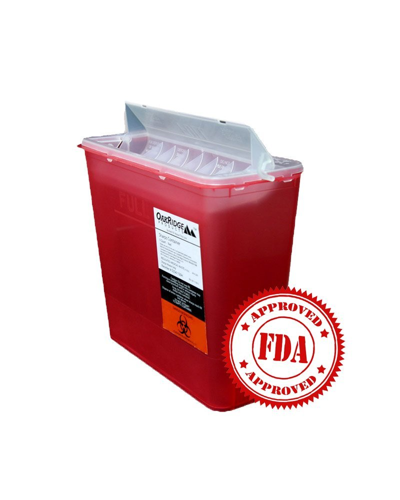 5 Quart Size | OakRidge Products Sharps Disposal Container | TouchFree Disposal by OakRidge Products