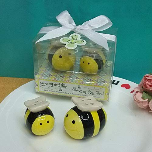 (BeesClover (200pcs=100boxes/lot+Mommy and Me.Sweet as Can Bee' Ceramic Honeybee Salt & Pepper Shakers Baby Shower Favors Show One Size)
