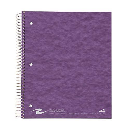 Wirebound 4 Subject Notebook (Roaring Spring Paper Products Wirebook Notebook, Four Subject with 4 Double Pockets, 11 x 9 Inches, 200 Sheets, College Ruled, Assorted Color Covers (11376))