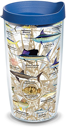 Tervis 1292234 Guy Harvey - Charts Insulated Tumbler with Wrap and Blue Lid 16oz Clear