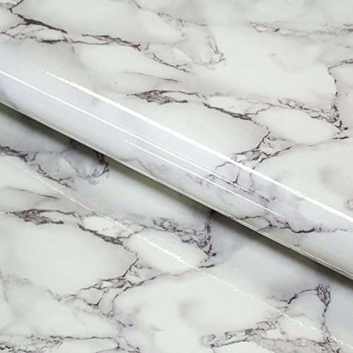 Craftopia Marble Contact Paper - Granite Gray / White Roll   Self Adhesive Peel and Stick Craft Vinyl Film   Great for Countertop and any Crafting Project (16