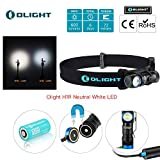 Bundle: olight h1r nova cree -l2 led 600 lumen rechargeable headlamp flashlight, 5 brightness level with sos mode, edc camping lightweight with rcr123a battery olight patch (nw)
