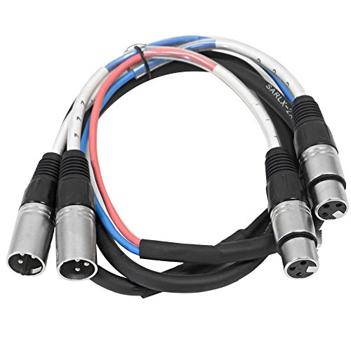Seismic Audio - SARLX-2x5 - 2 Channel XLR Color Coded Mutil-Patch Snake Cable 5 Feet - Pro Audio