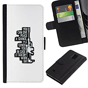 KingStore / Leather Etui en cuir / Samsung Galaxy Note 4 IV / Sniper Gun Affiche de la machine