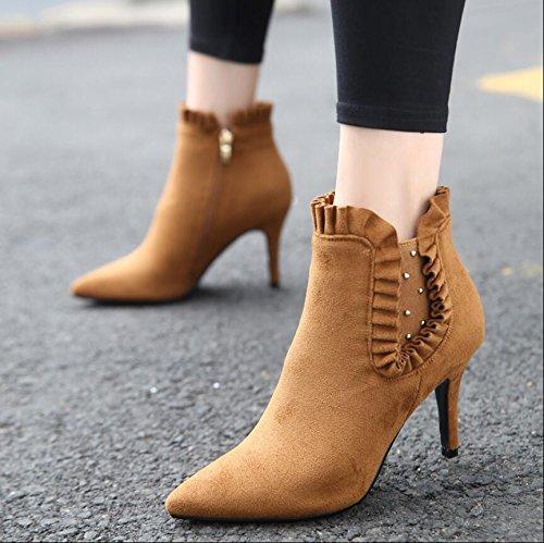 KHSKX-Sweet Lace Boots Winter New Tip Satin Rivet Side Zipper Broken Down By 9Cm High-Heeled Boots Martin Boots Women Khaki 39 XV2P78jTJh