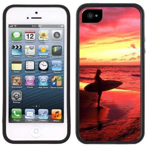 Fille Surfeur | Fait à la main | iPhone 5c | Etui Housse noir