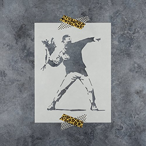 Small Thrower - Rage Flower Thrower Banksy Stencil for Walls and Crafts - Reusable Stencils of Flower Thrower by Banksy for Painting in Small & Large Sizes - Made in USA