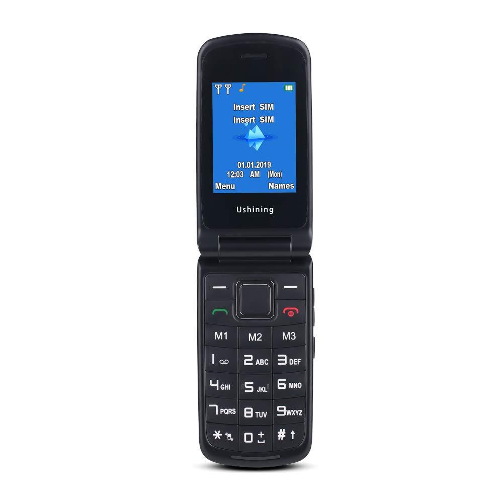 Ushining Telephone Portable Debloqu/é T/él/éphone Portable Basique /à Clapet de Grosse Touche pour Personnes Ag/ées 2.4 Ecran SOS Bouton 2G + 3G