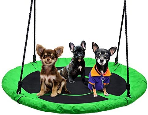 40 Flying Saucer Tree Swing 700lb Weight Capacity – 900D Oxford, Safe Durable Swing Seat Kids Indoor Outdoor Round Mat Swing Great for Tree, Swing Set, Backyard, Playground, Playroom Green-1