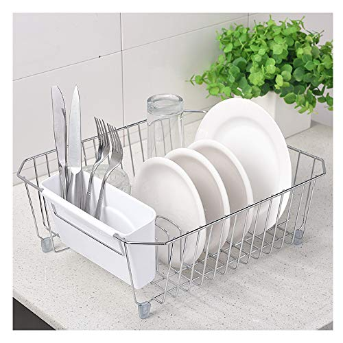 - IKEBANA Kitchen In-Sink Chrome Finish Wire Dish Rack, Small Dish Drainer Rack With Removable White Plastic Utensils Holder