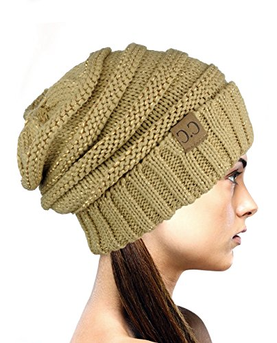 ve Oversized Baggy Slouchy Thick Winter Beanie Hat - Gold Metallic ()