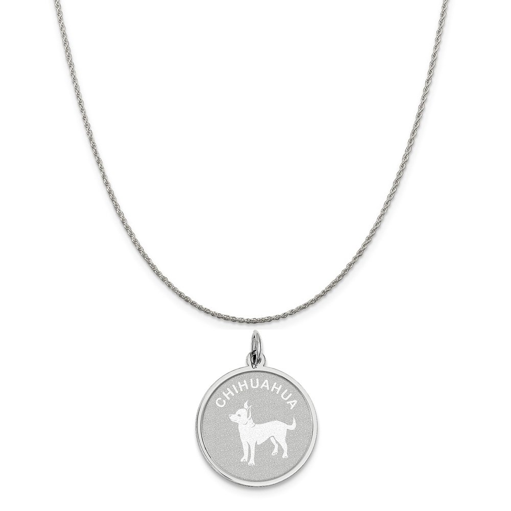 Mireval Sterling Silver Chihuahua Disc Charm on a Sterling Silver Chain Necklace 16-20