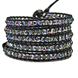 MO SI YI Multi-layer Braided Leather Wrap Bracelet with Sparkly Faceted Crystal Beads (5 Wrap Multi-color)