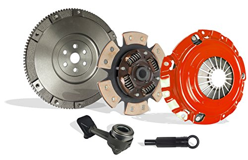 Clutch Kit Upgrade To Solid Flywheel Works With Focus St Zx4 Lx Se Zts Ztw Zx3 Zx5 Sedan Wagon Hatchback 2004-2007 2.3L L4 Gas Dohc Naturally Aspirated (6-Puck Clutch Disc Stage 2)