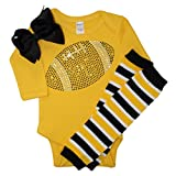 Baby girl's Black & Yellow Team Colored Rhinestone Black Football on a Yellow Outfit