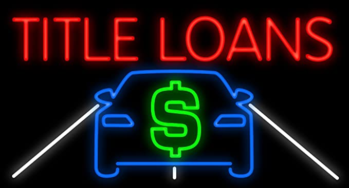 Amazon.com: Cartel de neón para coche Title Loans, fabricado ...