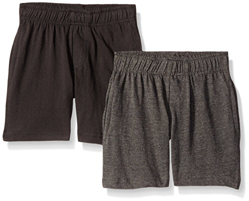 American Hawk Boys 2 Piece Pack Cotton Jersey Shorts,Black/Charcoal,5/6/Large