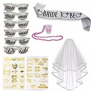 Bachelorette Party Set Includes: 6 Bachelorette Party Sunglasses, 1 Bride to Be Sash, 1 Bridal Wedding Veil With Comb, 1 Plastic Shoot Glass, 35+Flash Metallic Bride Tattoos