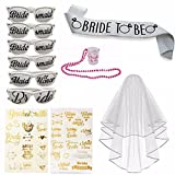 Bachelorette Party Set Includes: 6 Bachelorette Party Sunglasses, 1 Bride to Be Sash, 1 Bridal Wedding Veil With Comb, 1 Plastic Shoot Glass, 35+Flash Metallic Bride Tattoos