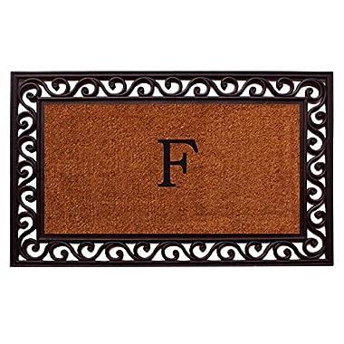 Home & More 100062236F Rembrandt Doormat, 22  x 36  x 1 , Monogrammed Letter F, Natural/Black