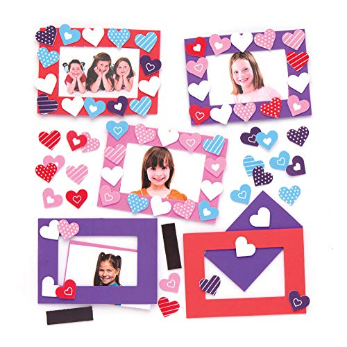 Baker Ross Heart Mix & Match Photo Frame Magnet Kits (Pack of 6) for Kids to Assemble, Display or Gift for Mother