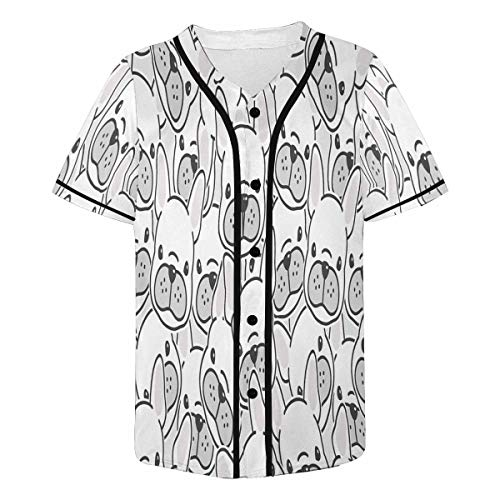 (InterestPrint Men's Dog French Bulldog Puppy Face Dog Head Baseball Jersey Button Down T Shirts L)