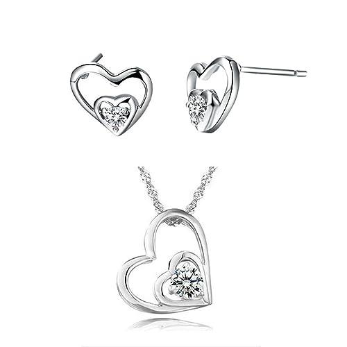 ee897b8ffdff Onefeart Blanco Chapado en Oro Collar Colgante Aretes Juego de Joyas por  Mujer Niña con Cristal Doble Corazón  Amazon.es  Joyería