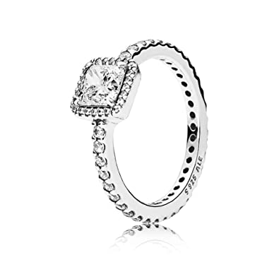 62a8a1bbb Amazon.com: PANDORA Timeless Elegance Ring, Sterling Silver, Clear Cubic  Zirconia, Size 6: Jewelry