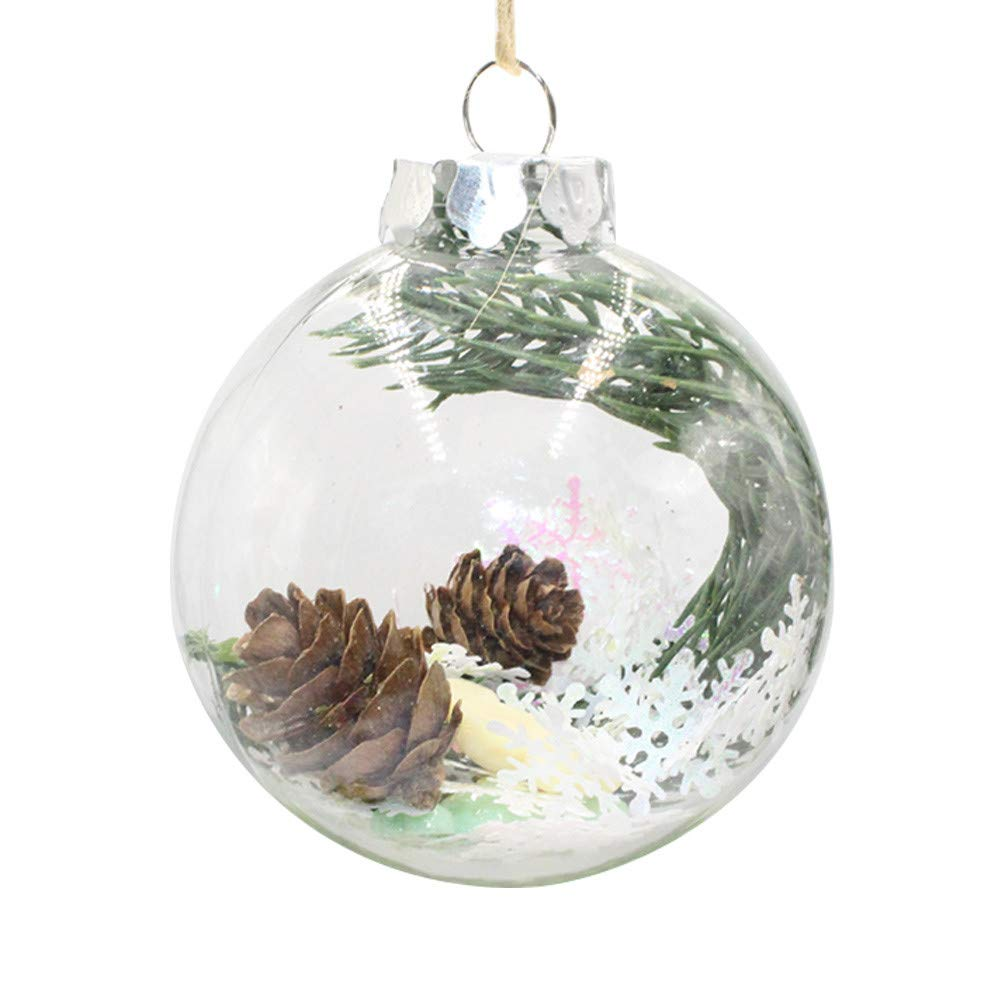 Christmas Balls Clear Shatterproof Plastic Christmas Bauble with Stuffed Delicate Pine Cone, Snowflake, Xmas Tree Decoration Xmas Tree Hanging Ornament for Christmas Decor (B)