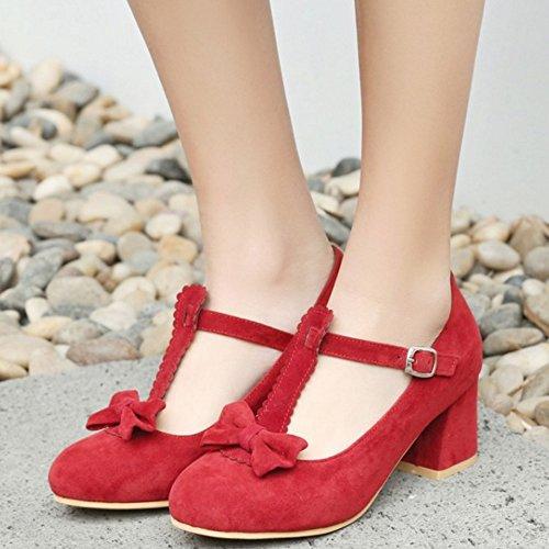 COOLCEPT Rojo T en Zapatos con Bombas Tacon Bowknot Correa Baja Zapatos Mujer Boca Moda rxIOrq6