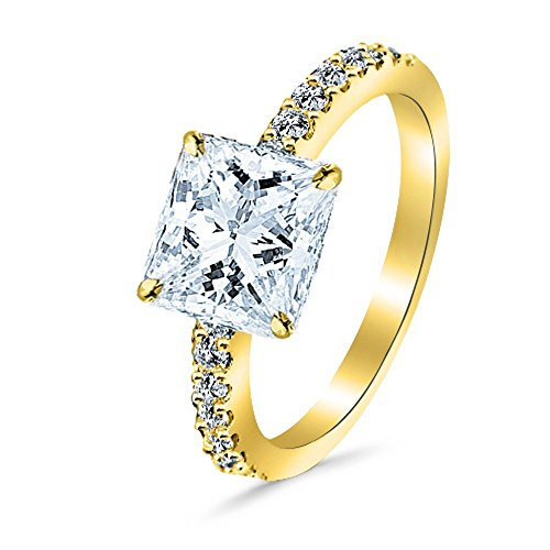 0.55 Cttw 14K Yellow Gold Princess Cut Classic Side Stone Pave Set Diamond Engagement Ring with a 0.25 Carat D-E Color VS1-VS2 Clarity (0.25 Ct Center Stone)