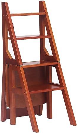 Plegable Multifuncional Escalera escaleras sillas Bambú Silla Movible 4 Pasos Taburete Casa Cocina Uso Dual (Color: Nogal): Amazon.es: Hogar