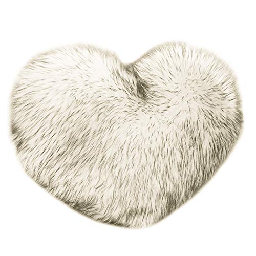 Baulody Heart Shaped Throw Pillow Cushion Plush Pillows Gift Home Sofa Decoration Colorful Soft Sweet Love Heart Shaped Nap Fluffy Throw Pillows Back Cushion for Lover Kids 40 x 50cm (E) -
