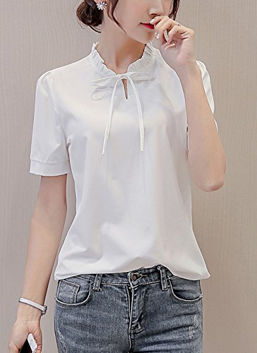Fashion Blouse Bianca3 Chiffon Tinta Sottile Camicie Fr Shirts Casual Fox Unita Corte ulein Estivo Maniche Donna Tops qHz0Iaw