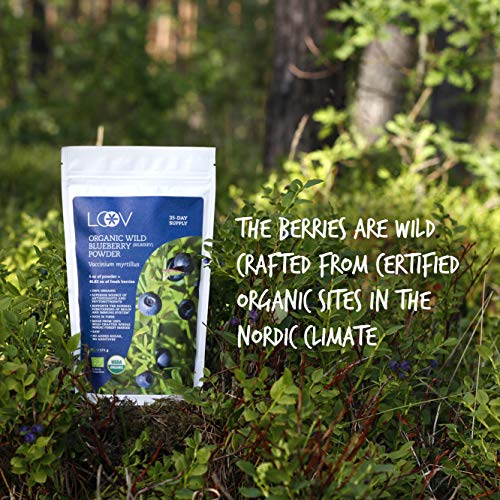 Organic Wild Blueberry Powder, wild-crafted from Nordic forests, 100% whole fruit blueberry, 35-day supply, 6 oz, freeze-dried and powdered wild blueberries, high in anthocyanins, free recipe book by LOOV (Image #2)