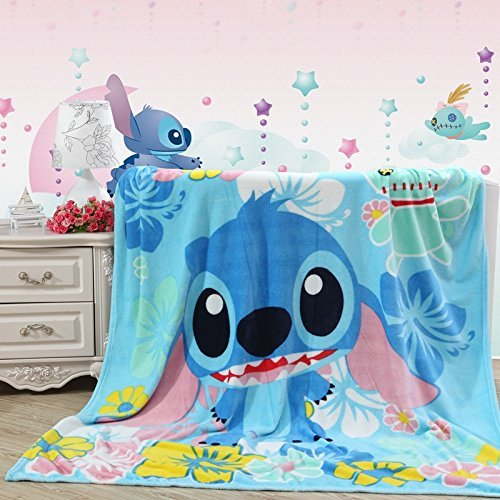 Blaze Children's Cartoon Printing Blanket Coral Fleece Blanket (40 By 55 Inch, Stitch)
