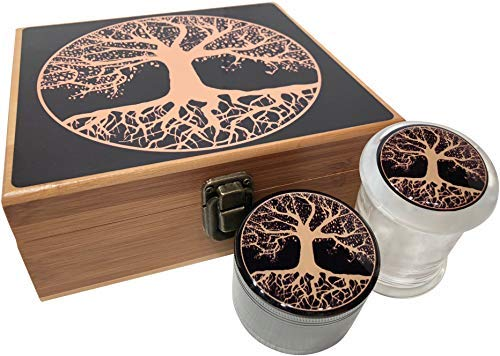 Tree of Life Stash Box Combo - Large 4 Part Herb Grinder with pollen catcher and Stash Jar and Rolling Tray - Wood Stash Boxes (Tree Of Life) ()