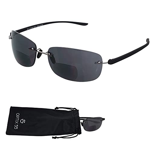 dcf71b4666 Rimless Bifocal Reading Sunglasses - Lightweight quot Invisible  Readers quot  with UV Ray Sun Protection