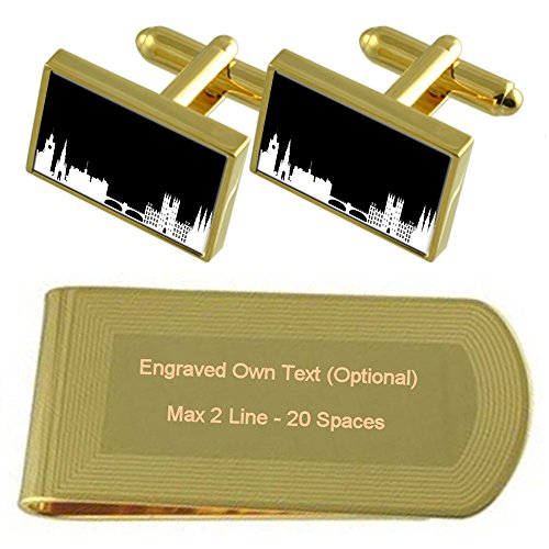 Money Set Skyline tone Clip Gold Edinburgh Gift Cufflinks Engraved xZUZOqR