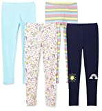 Spotted Zebra Girls' Little 4-Pack Leggings, Unicorn, X-Small (4-5)