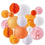 BENECREAT 17 Pieces Orange Pink White Theme Paper Pom Poms Paper Flowers Paper Lanterns Honeycomb Balls Tissue Fans - Perfect For Wedding Decor, Birthday Celebration, Table and Wall Decoration