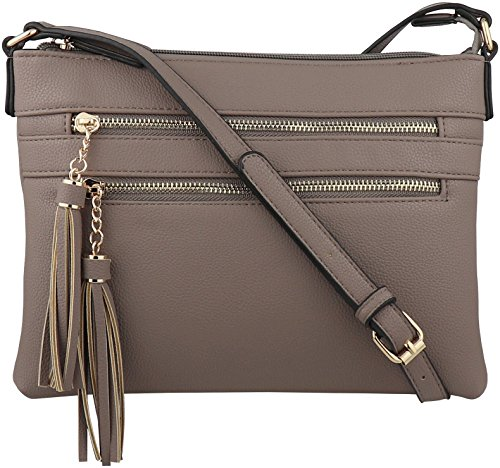 B BRENTANO Vegan Multi-Zipper Crossbody Handbag Purse with Tassel Accents (Stone(N))