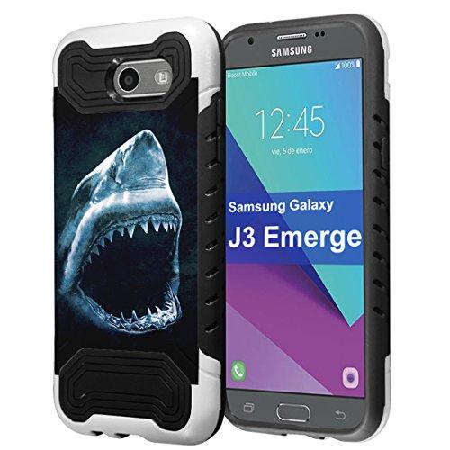 Galaxy J3 Prime Case, J3 Emerge Case, J3 Luna Pro Case, Capsule-Case Dual Layer Slim Armor Case (White & Black) for Samsung Galaxy J3 Prime / J3 Emerge / J3 Luna Pro - (Shark) (Predator Pro Armor)