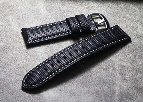JWJY 20 21 22 24 26ミリメートル 厚い本革ウォッチストラップ手作り時計バンドブラック腕時計バンド (Band Color : A black line, Band Width : 26mm)