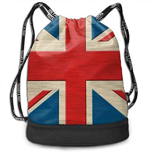 Bulk Drawstring Backpack, Lightweight Gym Sport Bundled Bag Wet Dry Separated Yoga String Cinch Tote Bag Multipurpose Casual Bag For Adult Kids - British Flag]()