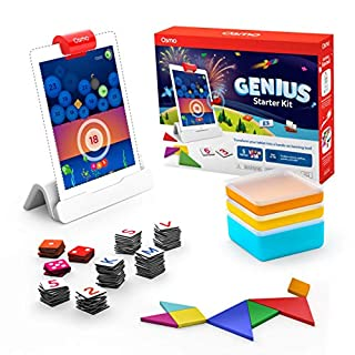 Osmo - Genius Starter Kit for iPad - 5 Hands-On Learning Games - Ages 6-10 - Math, Spelling, Problem Solving, Creativity & More - (Osmo iPad Base Included), Multicolor