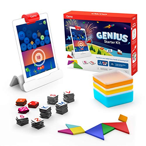 Osmo - Genius Starter Kit for iPad (NEW VERSION) - 5 Hands-On Learning Games - Ages 6-10 - Problem Solving & Creativity - STEM - (Osmo Base Included) (Best Learn Spanish App For Iphone)