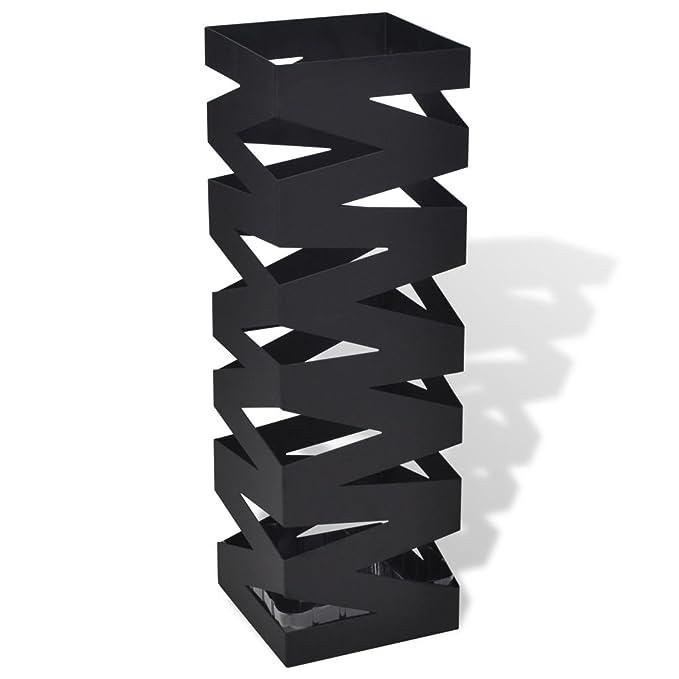 vidaXL Paragüero Cuadrado de Acero Blanco 48.5 cm Cubo para Guardar Paraguas