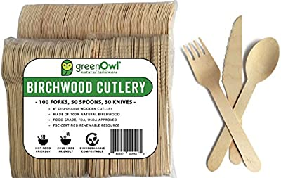 "GreenOwl Disposable Wooden Cutlery Set 6"" Eco-Friendly Flatware 100% Natural Premium Birchwood Biodegradable and Compostable!"