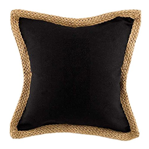 Jute Throw (Flowers Border Style 2 Sofa Bed Home Decor Canvas Jute Trim Pillow Cover Black)